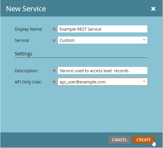 New > New service. API Only Usershould contain the previously created user) and click onCreate.