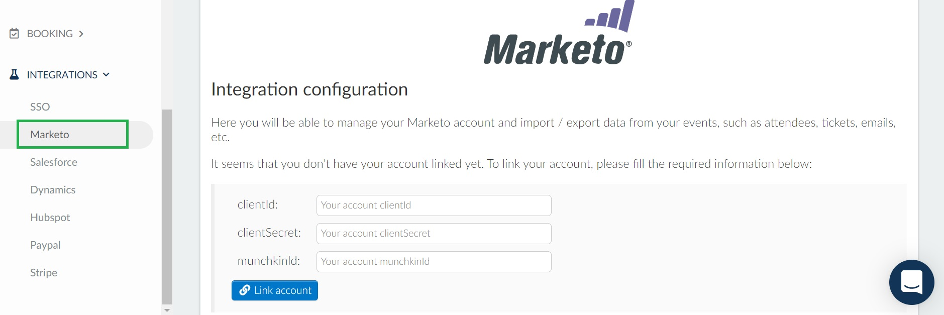 How to integrate the platform with Marketo