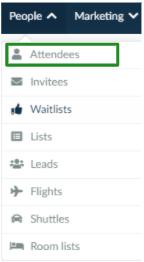 Screenshot of People > Attendees.