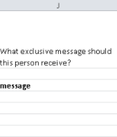 Screenshot of the message field on the spreadhseet.