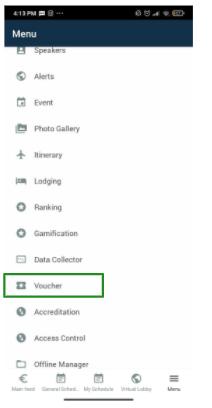 Screenshot of the app's menu highlighting the voucher.