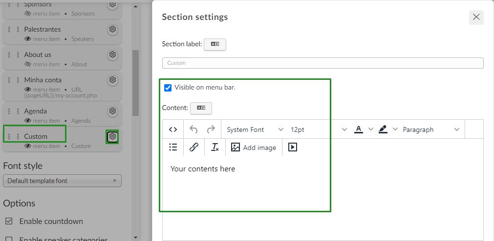 website > custom section > add image
