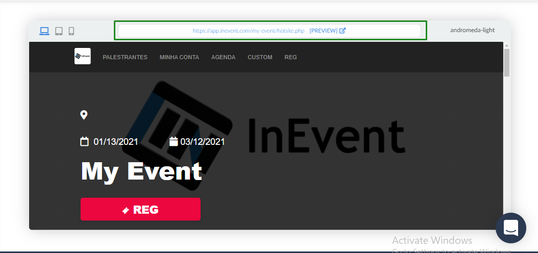 website > view website > preview