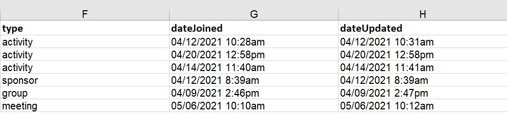 Spreadsheet columns - Virtual Lobby Analytics