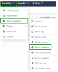 Screenshot of the steps Marketing > Communication > Email blacklists