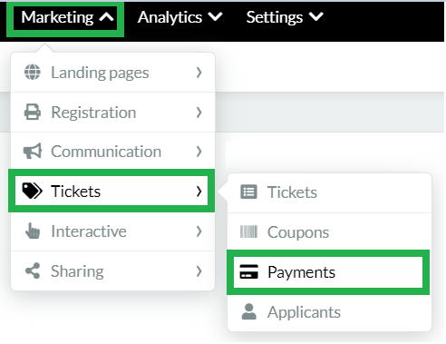 Marketing > Tickets > Payments