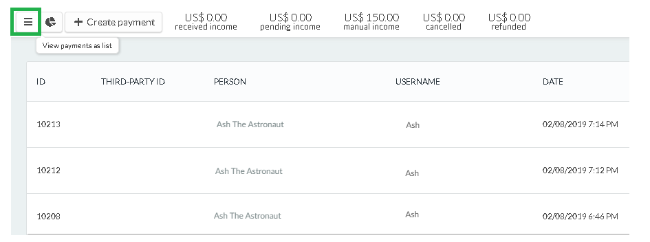 Payments as a list