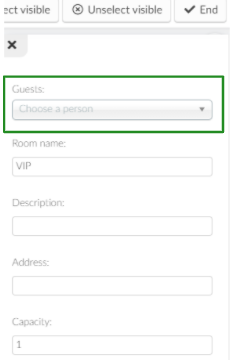 Screenshot of the room's details highlighting the guest's option