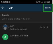 Screenshot of the leave room are in the app.