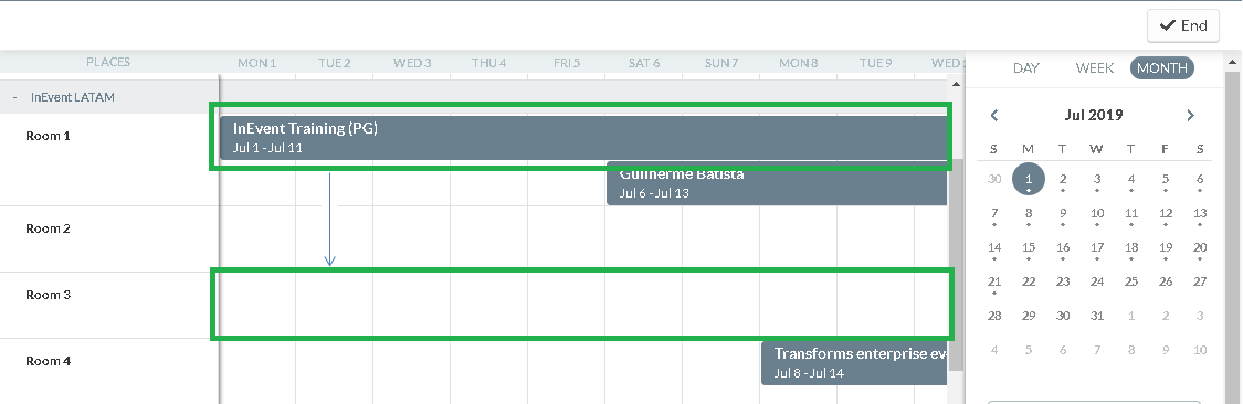 Company calendar Places