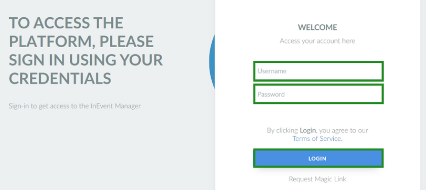 The image shows the login page for company admins, highlighting the username and password fields