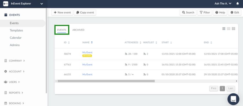 The image shows the events page on the company level of the platform