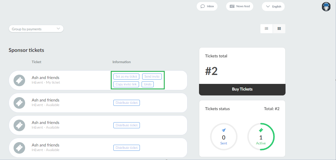Virtual Lobby > My tickets