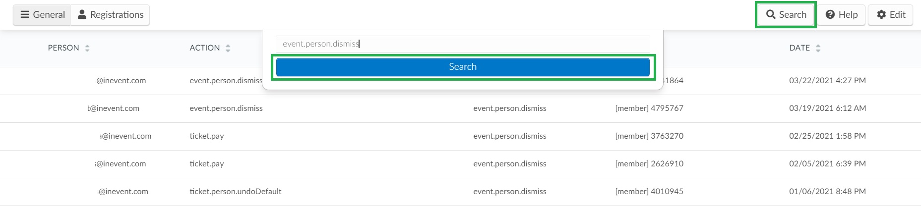 How to search for specific actions