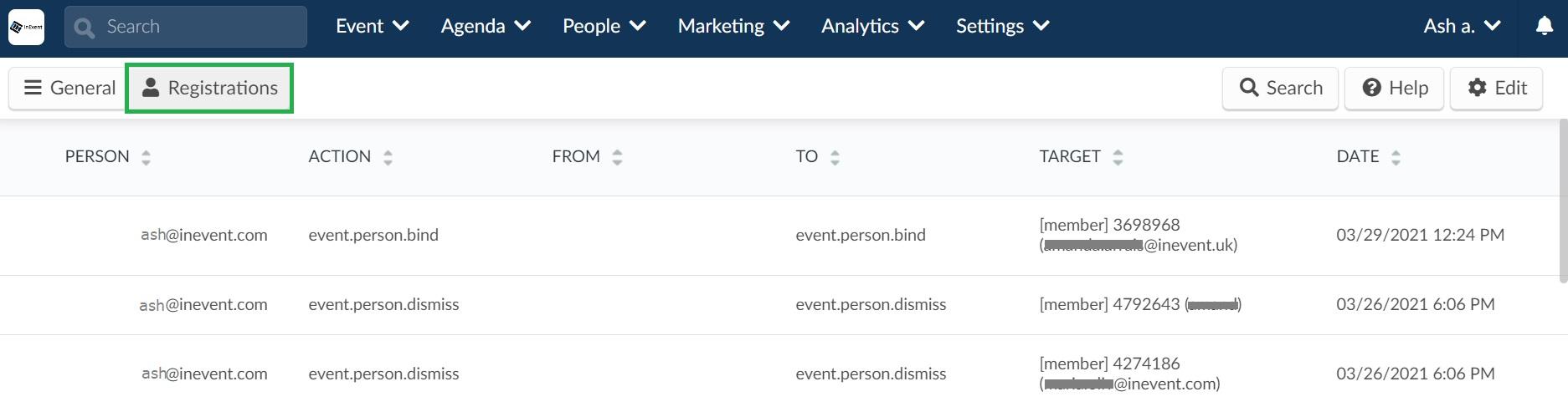 Screenshot of the filter Registrations