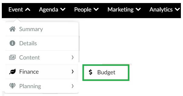 Event > Finance > Budget