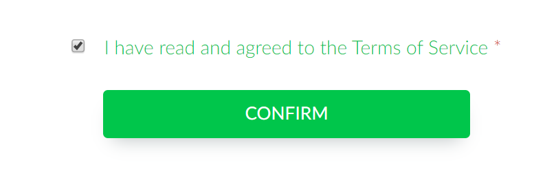 Screenshot of the confirm button related to the terms of services on the registration form.