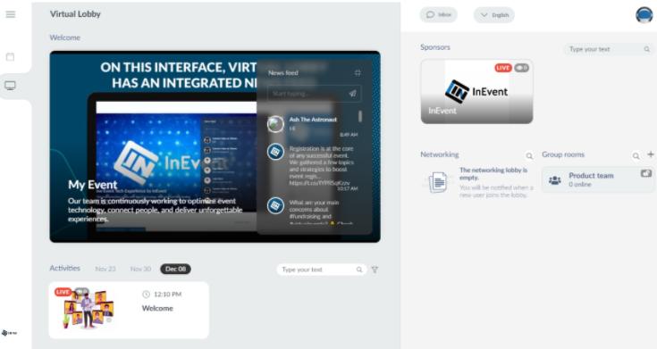 Screenshot of the Virtual Lobby page.