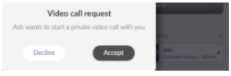 Screenshot of the video call request pop up box.