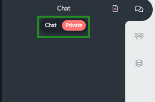 Switching from public to private chat