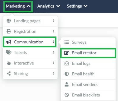 Screenshot marketing > communication > email creator