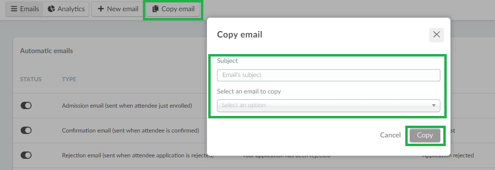 Screenshot +copy email