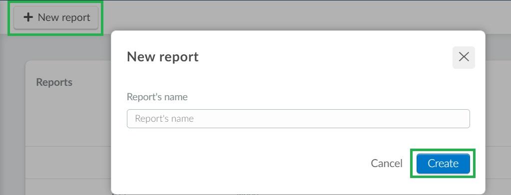 Screenshot of how to create a custom report
