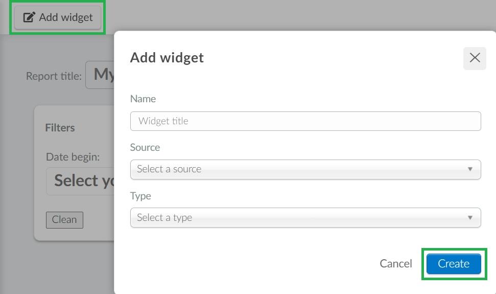 Screenshot of how to create widget