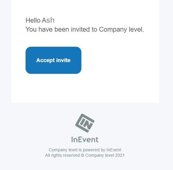 Admin invite email