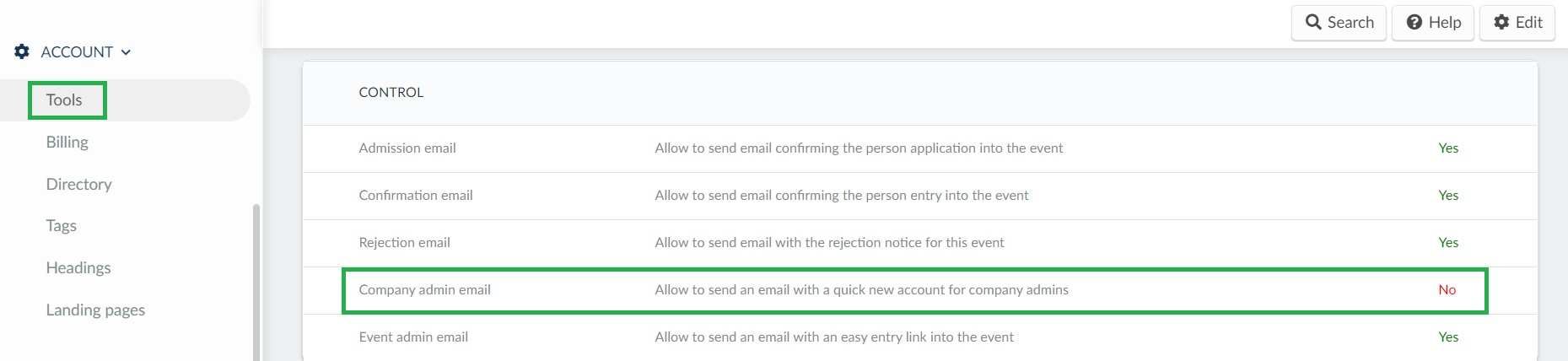 How to disable emails for company admins