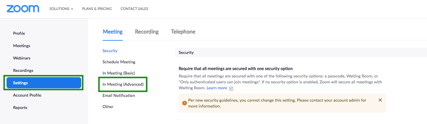 Image shows settings > in meeting (advacend) screen on Zoom