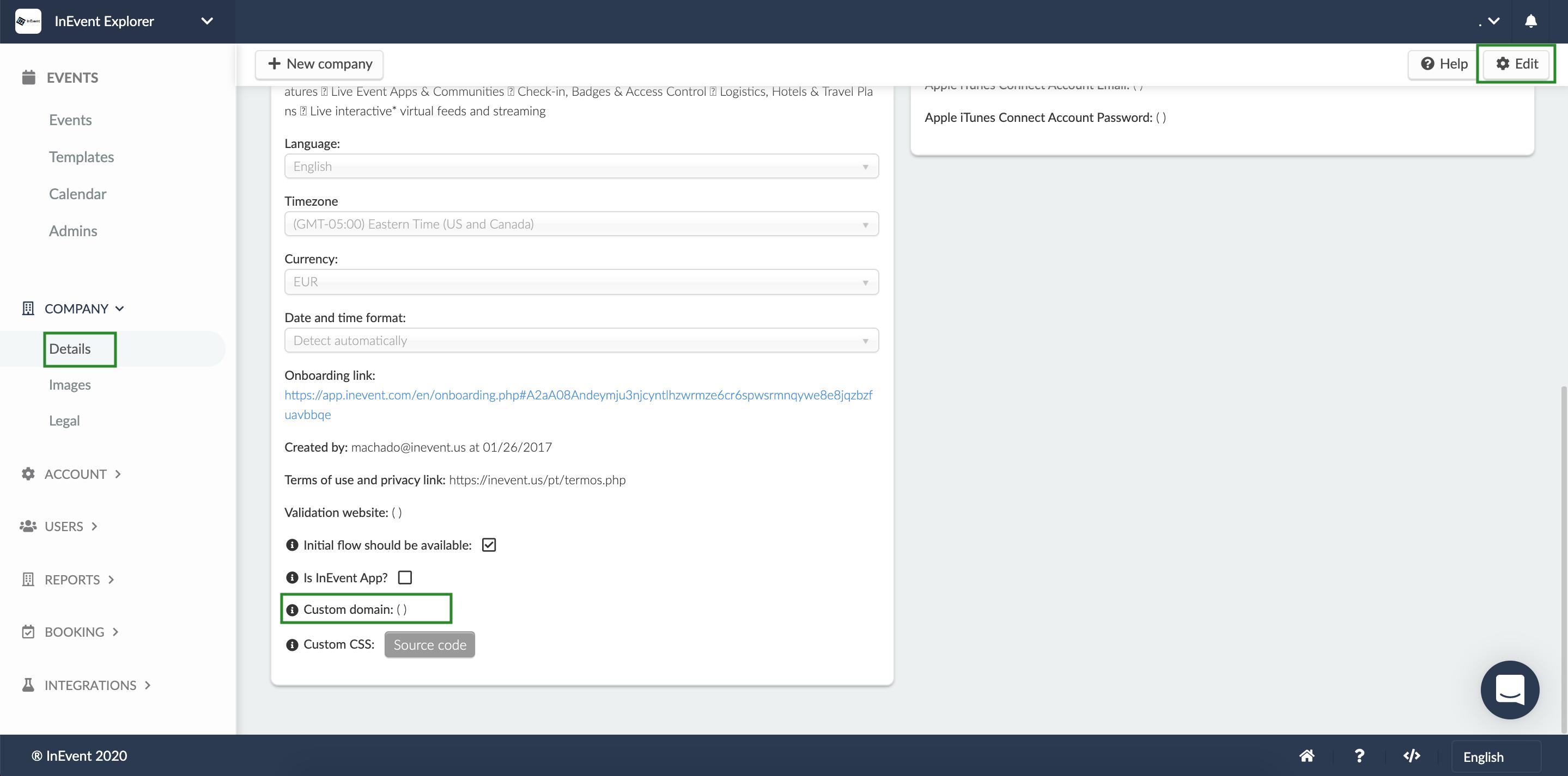 Screenshot of the steps Details > Edit > Custom Domain