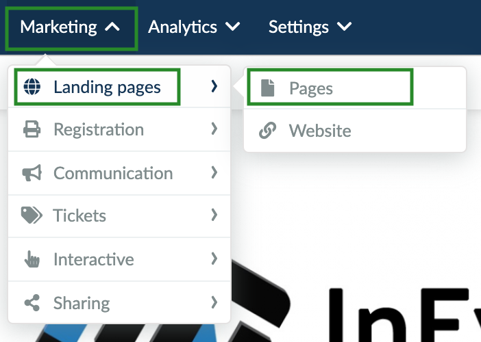 Screenshot of the steps to go to the Landing page configuration