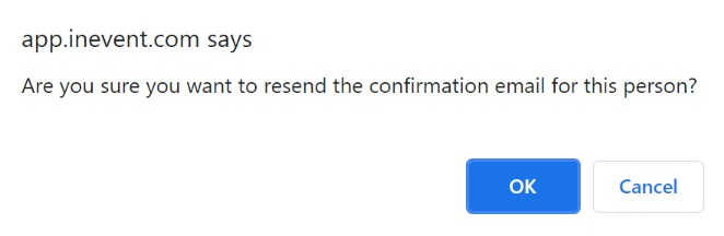Confirmation email pop up