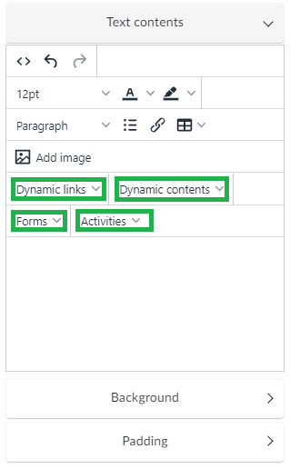 Dynamic links, dynamic content, forms and activities