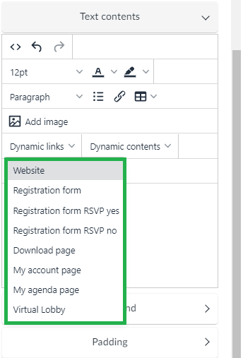 Text contents > Dynamic links
