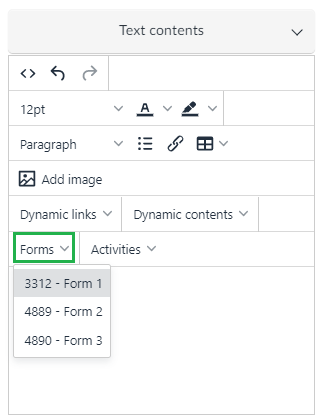 Text content > Forms