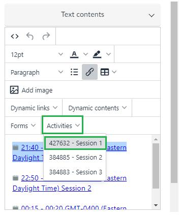 Text contents > Activities
