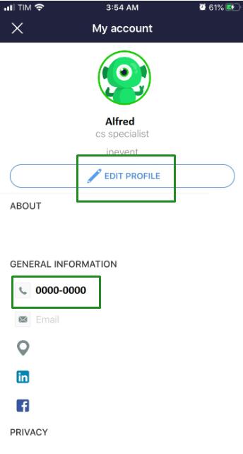 Edit profile > telephone number > OK