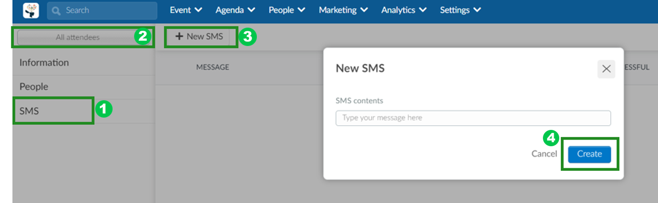 Steps to create a new SMS