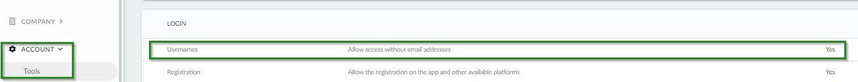 Screenshot of company level >account>username