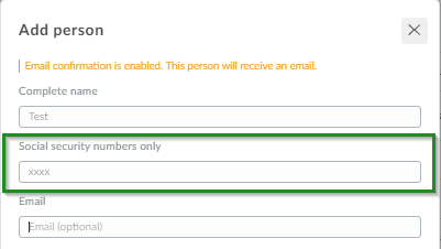 Screenshot of steps People>attendee>add person