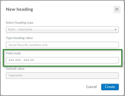 Screenshot of steps Headings>New headings>Form> Username