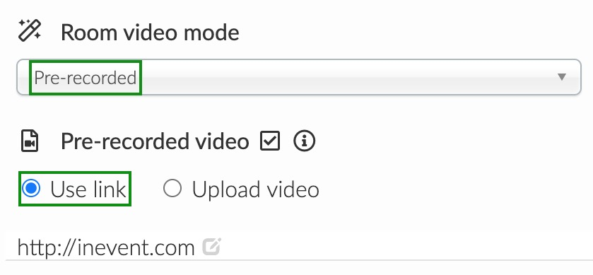 choose pre-recorded as room video mode