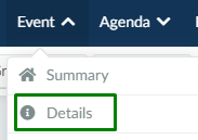screenshot of event > details