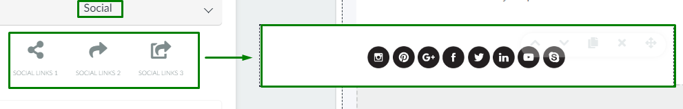 screenshot of email > social icons