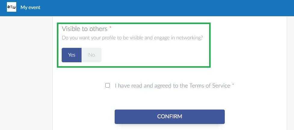 Screenshot of visibility option on registration form