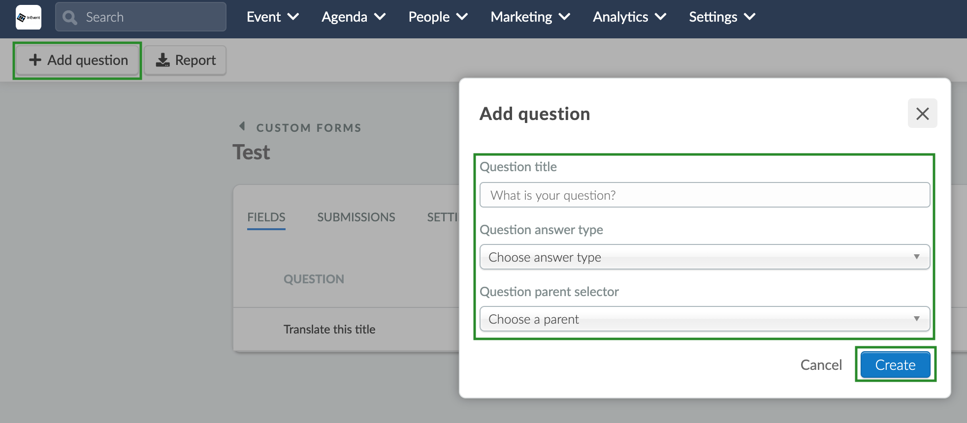 Screenshot of steps to add question
