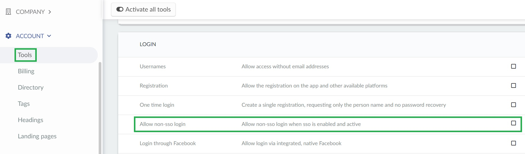 How to allow non sso login