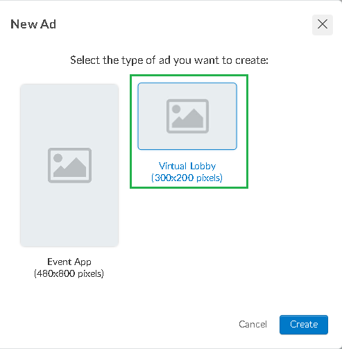 Screenshot of steps to create add on Virtual Lobby >click on sponsor> add >+ New ad>create